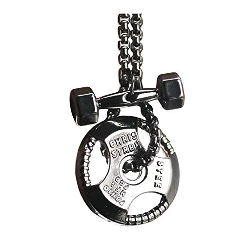 CHENCAN01 Gym Jewelry, Dumbbell Necklace, Fitness Jewelry, Exercise Jewelry, Weightlifting Necklace, Athlete Pendant, Weight Plate Necklace (1)