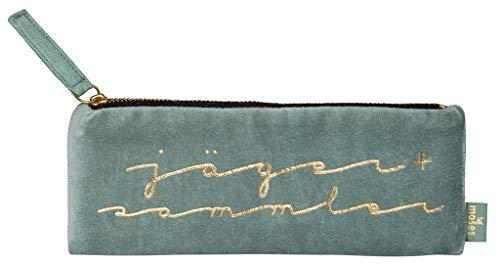 moses. Samtmäppchen Jäger und Sammler libri_x | Federmäppchen aus Samt in Salbei Grün mit Goldveredelung Federmäppchen, 21 cm, Salbei