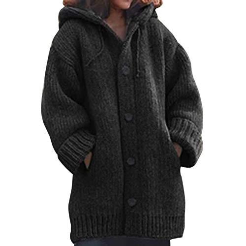 Vertvie Gilet Cardigan Femmes Épais Veste en Tricot Chaud Hiver Pull Tricoté Casual Bouton Gilet Grosse Maille Outwear Blouson Chandail Sweater Outwear