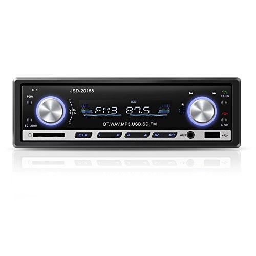 YOHOOLYO Radio de Coche Bluetooth Auto Radio FM USB MP3 Reproductor Audio Estéreo In-Dash WMA Ape FLAC WAV Pantalla LCD - Conector ISO …