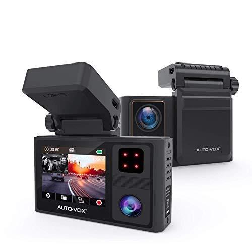 AUTO-VOX Dashcam Auto Vorne und Hinten mit eingebautem GPS, FHD 1080P Dual Dashcam mit Infrarot Nachtsicht, Autokamera mit WDR, Parküberwachung, G-Sensor, Notfallaufnahme, Loop-Aufnahme (Aurora)