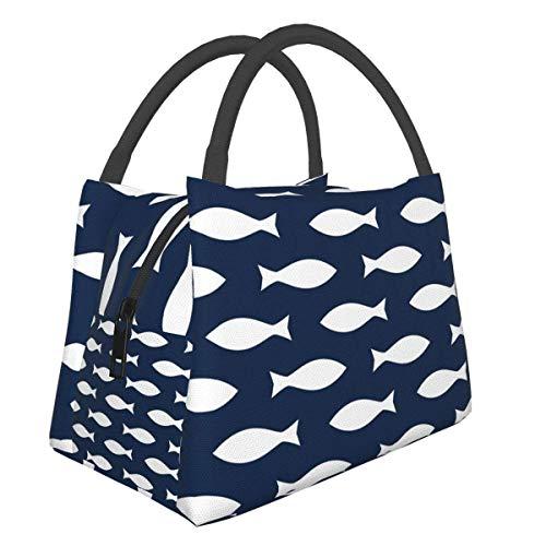 Bolsa de almuerzo de algas marinas con peces de acuarela, bolsa más fresca, bolsa de asas para mujer, lonchera aislada, bolsa de almuerzo térmica resistente al agua para mujeres / picnic / pesca