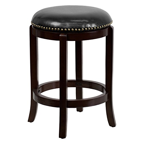Flash Furniture 24'' High Backless Cappuccino Wood Counter Height Stool with Black LeatherSoft Swivel Seat