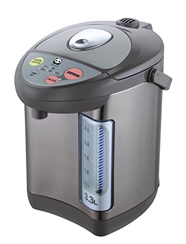 Panda Electric Hot Water Boiler and Warmer Hot Water Dispenser 304 Stainless Steel Interior 33 Liter Stainless Steel/Brown