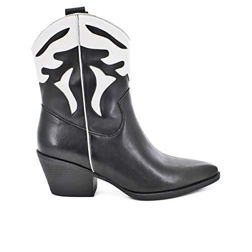 QUEEN HELENA Texani Stivali Stivaletti Neri Marroni Estivi Scarpe da Donna Camperos Western Cowboy a Punta con Tacco Etnici (Nero, Numeric_41)