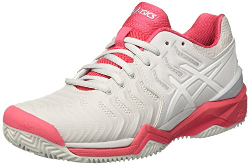 ASICS Gel-Resolution 7 Clay, Scarpe da Tennis Donna, Grigio (Glacier Grey/White/Rouge Red), 39 EU