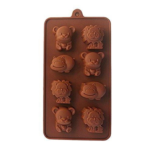 joyliveCY Hipopótamo León oso Compatible Conma silicona Chocolate Mold