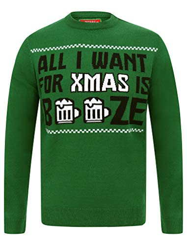 "Tokyo Laundry Herren Pullover ""Merry Christmas"" Gr. Small, All I Want Christmas Green"