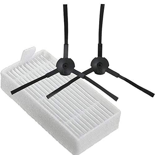 QUJJP Accesorios para aspiradoras 2 cepillos y 1Filter Compatible con ILIFE Vacío de Piezas de Repuesto Succión de Repuesto Robot Medion MD16192 / 18500 Filtros