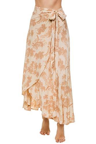 Beachgold Women's Wovens Betty Palm Wrap Skirt Swim Cover Up Dusk Palm S