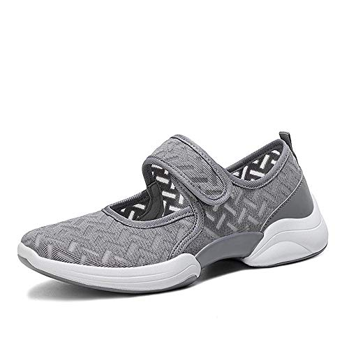 Lazzy Womens Velcro Fashion Sneakers Casual Summer Mary Jane Sneakers Breathable Mesh Running Walking Shoes Grey size8