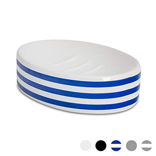 Harbour Housewares Porte-Savon de Salle de Bain//Vaisselle Bleu//Blanc