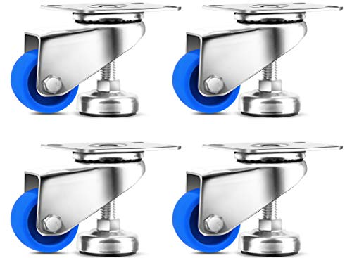 SPACECARE 1.4 Inches Swivel Caster Wheels, Heavy Duty Casters Set of 4 with 360 Degree Furniture Wheels, 800Lbs with Leg Levelers
