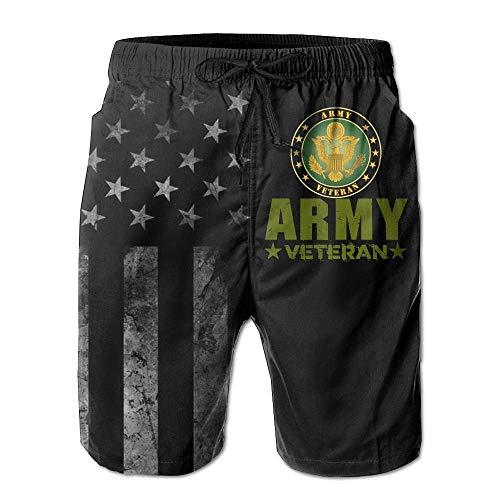 Kling Army Veteran mit amerikanischer Flagge Strandhosen für Männer Badehose - Badeanzug Athletic Shorts, XXL
