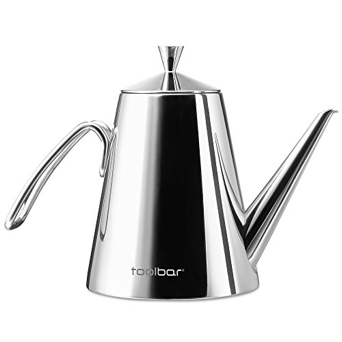 Stainless Steel Olive Oil Can Drizzler Cruet / Bottle / Dispenser with Drip-Free Spout, 0.5 Quart, Metier Atelier Toolbar Series