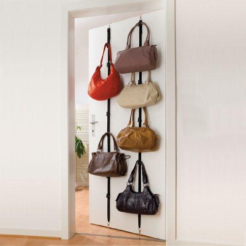WENKO Taschengarderobe - für 8 Taschen, Polyamid, 3 x 200 x 3.52 cm, Schwarz