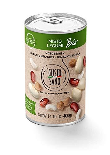 GUSTO SANO MISTO DI LEGUMI BIOLOGICI già pronti. Legumi in scatola 6 pacchi X 400 Gr: 2,4 KG. Misto di legumi bio lessati e reidratati, non OGM