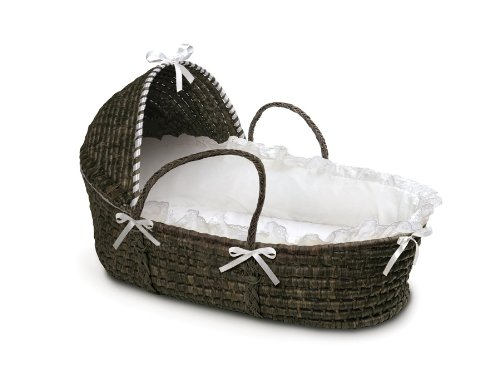 Badger Basket Moses Basket with Hood and Bedding, Espresso/White