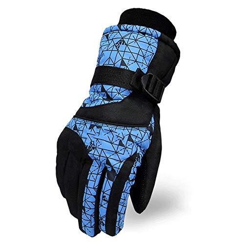 Herren Ski Handschuhe Winter Winddichtes warme Handschuhe mit Handgelenkschlaufe Außenreitbergsteigen Kaltes Wetter Handschuhe (Color : Blue)