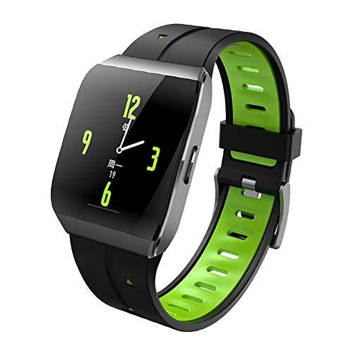 YDM Wasserdicht Sportuhr, Big Bildschirm Herzfrequenz Schlafüberwachung, Quadratische Smart Armband Informationen Erinnerung Zu Fuß Erreichbar, Kalorienzähler,Grün