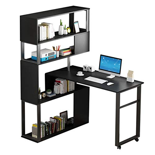 HONORWARES 180° Rotating L Shaped Computer Desk with Hutch, 5-Layer Shelves Home Office Desk with Wheels, 63 Inch Tall - 47 Inch Tabletop, Black