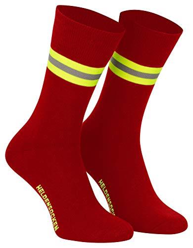 PACOTEX Heldensocken rot gelb-silber-gelb - Made in Germany - Paar - für Helden des Alltags bei Feuerwehr Rettungsdienst und Hilfsorganisationen (44-47)