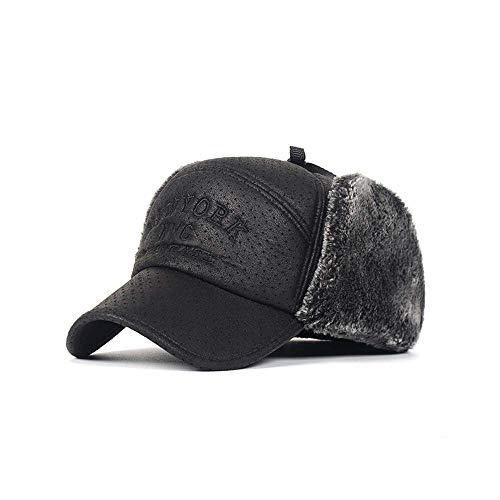 LAMUCH Invierno de Cuero de la PU de los Hombres Trapper Sombrero de Piel Suave Gorra de Béisbol Visera de la Oída de la Solapa Cálido de los Deportes de Esquí Térmico Sombrero de Protección