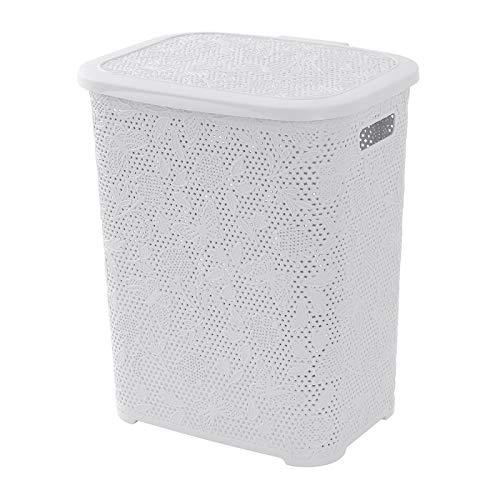 BuyStar Cesta Portabiancheria in Plastica, Capienza 50 Litri, Decorazione con Motivo Floreale, Disponibile in Diversi Colori (Bianco)