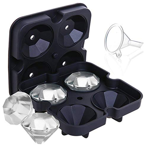YJM Molde de Hielo de Silicona Molde de Bandeja de Cubitos de Hielo de Diamante 3D Molde de Cubitos Molde de Hielo de Chocolate