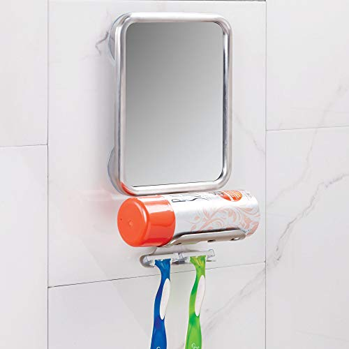 iDesign Forma Suction Bathroom or Shower Shaving Mirror with Shaving Cream and Razor Holder - Brushed Stainless Steel