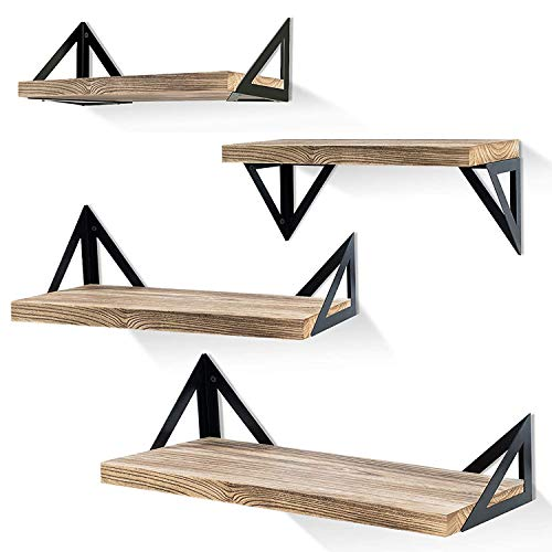 Klvied Floating Shelves Wall Mounted Set of 4, Rustic Wood Wall Shelves, Storage Shelves for Bedroom, Living Room, Bathroom, Kitchen, Office and More, Carbonized Black