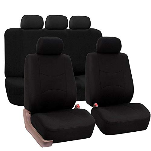 CNmuca Capa de assento de carro universal para assento de carro Almofada de tecido para assento de carro Conjunto de 9 peças Capa de assento de carro avançada preta