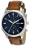 Fossil Men's Townsman Quartz Stainless Steel and Leather Chronograph Watch, Color: Silver, Luggage (Model: FS5279)