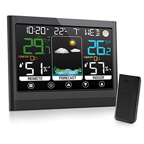 Multifunzione Stazione Meteorologica per Interni ed Esterni con Sensore Wireless,Termometro Digitale Igrometro con LED Touch Screen con Sveglia Snooze Previsioni del Tempo,Applica a Famiglia Ufficio