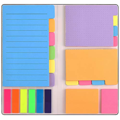 Sticky Notes Set, Divider Self-Stick Notes Pads Bundle with Bookmark Index for Planner Bullet Journaling Notebook Textbook Calendar, School Home Office Supplies. 402Pcs Divider Sticky Notes