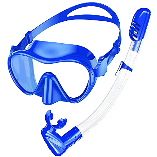 Rodicoco Snorkel Set Frameless Snorkel Goggles Foldable Snorkel Gear Detachable Snorkel Mask with 180Degree Panoramic View and Tempered Glass for Swimming Scuba Diving Snorkeling(Sky Blue, L)