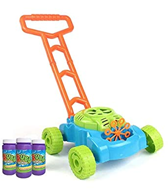 MeeYum Kids Outdoor Activity Bubble Machine Lawn Mower Bubble Blower with Handle Trolley (Includes 3 Bottles of Bubble Solution)