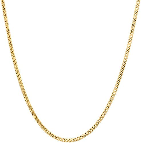 10K Gold 1.5MM, 1.9MM Square Franco Link Chain Necklace| 10K Gold Franco Box Link Necklace| 10k Gold Necklace| 10k Gold Chain 16-30