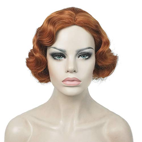 Lydell Vintage Cosplay Party Wig Short Finger Wavy Flapper Hairpiece...