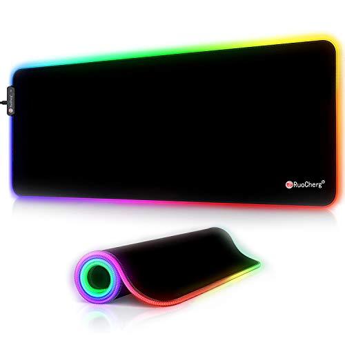 RGB Gaming Mauspad, Maus Pad mit 9 LED Beleuchtungsfarben und 12 Beleuchtungsmodi, rutschfeste Gummibasis und XXL Mouse Pad mit Wasserdichter Oberfläche, Geeignet für Spiele Computer PC Profispieler