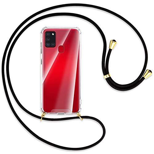 mtb more energy Collana Smartphone per Samsung Galaxy A21s (SM-A217, 6.5'') - Nero/Oro - Custodia indossabile per Collo - Cover a Tracolla con cordina