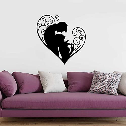 Parejas dulces románticas amor en forma de corazón vinilo adhesivo de pared calcomanía de coche dormitorio sala de estar estudio de boda decoración del hogar Mural