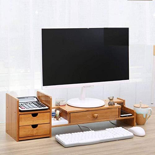 Monitorhouder met schuiflade, computermonitor, ter verhoging van de bureausokkel, voor kantoor, thuis, voor laptop, tv, toetsenbord A, 52 x 19 x 13 cm G 66x19x21cm