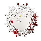 Easyeeasy Tocador redondo Espejo acrílico plateado Pegatinas de pared Arte de bricolaje Decoración de pared Pegatinas de pared Espejo Etiqueta de la pared, 27 cm