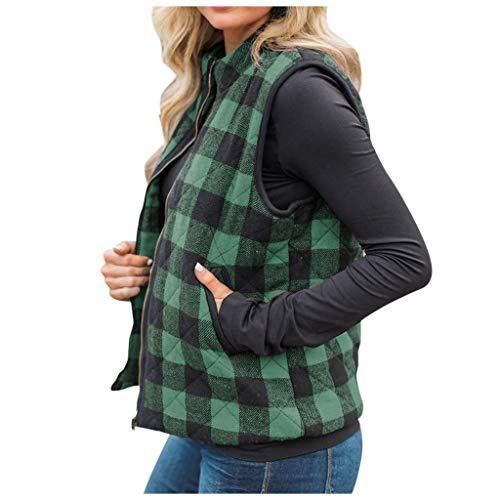 FEISI22 Womens Buffalo Hooded Plaid Corduroy Vest Flannel Winter Casual Coat Cardigan Sleeveless Vest Plaid Shawl Coat Green