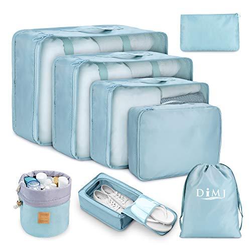 Koffer Organizer Set 8-teilig, kleidertaschen für Kleidung Kosmetik Schuhbeutel Kabel Aufbewahrungstasche, Reisen Organizer Tasche,Blau