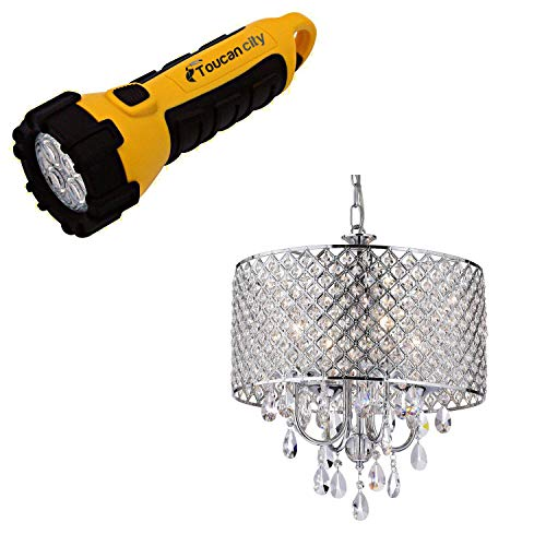 Toucan City LED Flashlight and Edvivi Marya 4-Light Chrome Round Chandelier with Beaded Drum/Hanging Clear Crystal Glass Teardrops EPG801CH