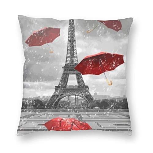 Meius - Funda de cojín con diseño de torre Eiffel negra con paraguas rojos voladores, de terciopelo suave, decorativa, cuadrada, funda de almohada para sala de estar, sofá o dormitorio con cremallera invisible de 20 x 20 pulgadas