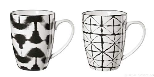 ASA 90903071 Maori - Henkelbecher/Kaffeebecher - Porzellan - 2 er Set - Ø 8 cm - Höhe 10,5 cm - 0,2l