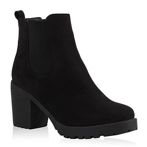 Damen Stiefeletten Chelsea Boots Profilsohle Schuhe 104771 Schwarz 38 Flandell